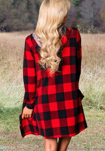 Red-Black Plaid Pockets Single Breasted Hooded Oversized Casual Blouse