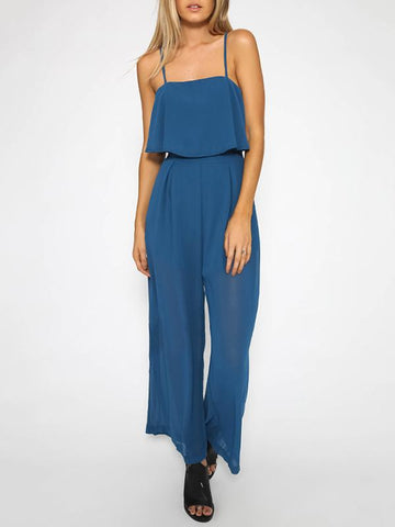 Solid Color Spaghetti-neck Wide Leg Long Jumpsuits