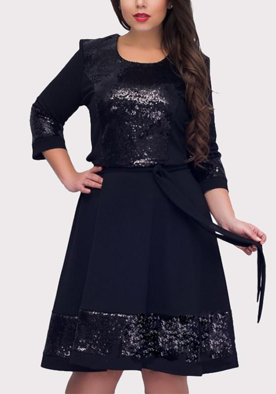 Dark Blue Patchwork Sequin Sashes Draped Plus Size Fashion Midi Dress