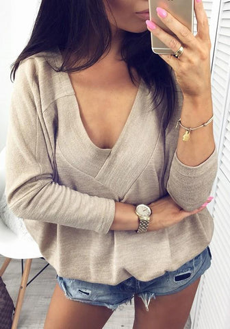 Apricot Asymmetric Shoulder Multi Way Deep V-neck Casual Going out T-Shirt