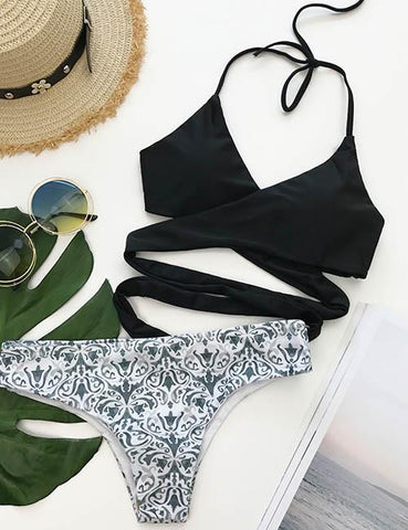Sexy Fashion Floral Print Bikini Set