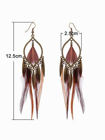Boho Exaggerated Feather Earrings