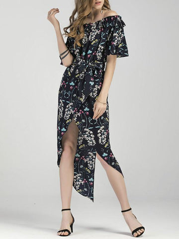 Asymmetric Off-the-shoulder Printed Bohemia Dress