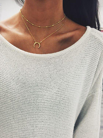 Daily Fashion Alloy Moon Necklace