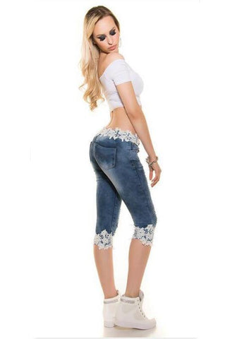 Blue Patchwork Lace Mid-rise Fashion Cotton Blend Seven's Jeans