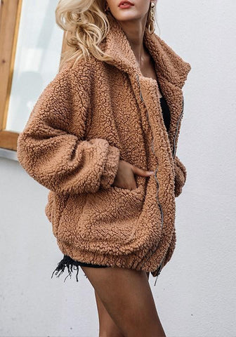 Brown Plain Pockets Zipper Turndown Collar Fashion Coat