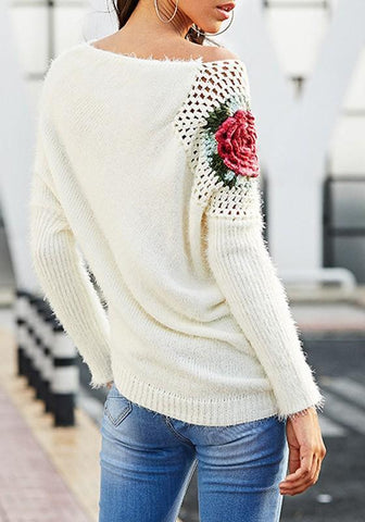 White Flowers Cut Out Long Sleeve Fashion Pullover Sweater