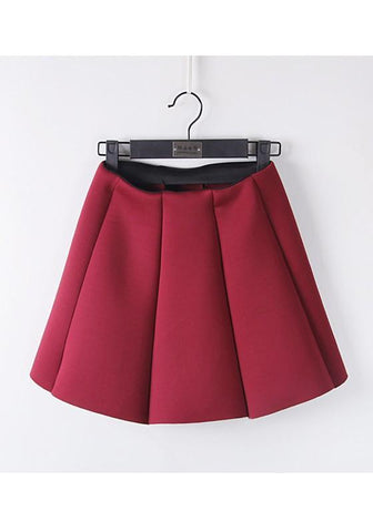Burgundy Pleated Tutu High Waisted Sweet Cute Going out Skirt