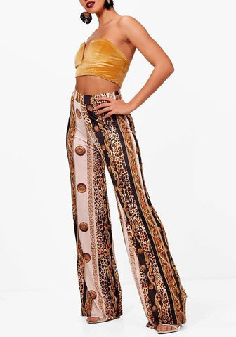 Golden Leopard Striped Tribal Print High Waisted Casual Wide Leg Long Pants