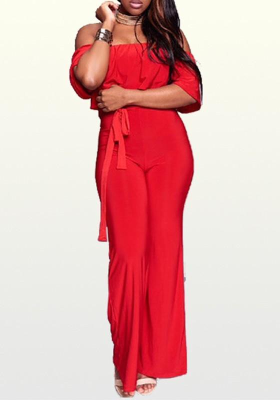 Red Ruffle Sashes Off Shoulder Backless One Piece Party Wide Leg Long Jumpsuit