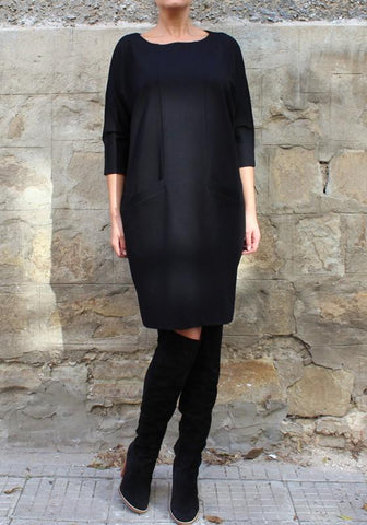Black Pockets Round Neck Casual Polyester Midi Dress