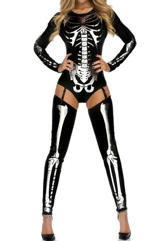 Black-Silver The Vampire Halloween Costumes Skeleton Ghost Bride The Queen Long Jumpsuit