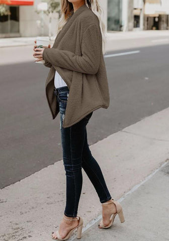 Coffee Irregular Turndown Collar Long Sleeve Fashion Coat
