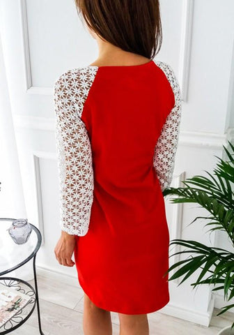 Red Patchwork Lace Cut Out Elbow Sleeve Fashion Midi Dress