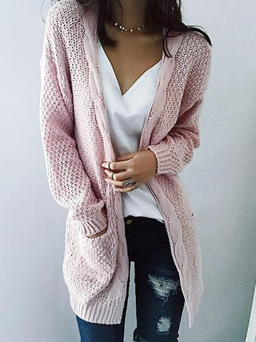 Fashion Open Collar Solid Color Cardigan