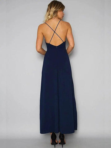 Embroidery Halter Open Back Maxi Dress