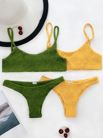 Sexy Hand Made Solid Color Bikini Set