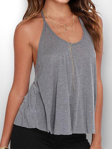 Sexy Sleeveless Solid Color Top Camisole