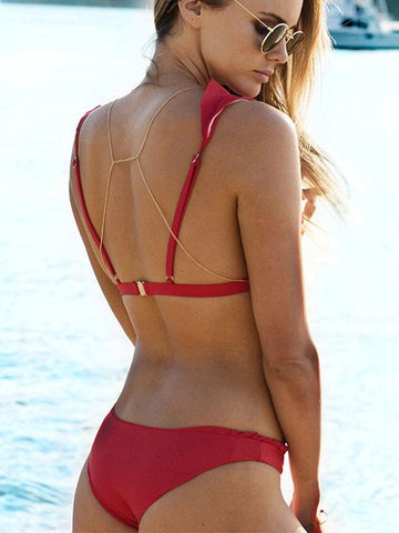 Sexy Flounce Red Solid Color Bikini Set