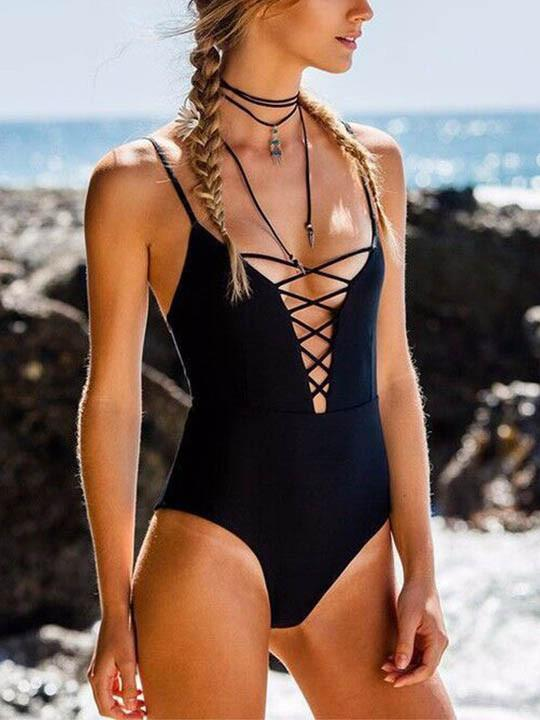 Sexy Lace Up Solid Color Romance One Piece Bikini