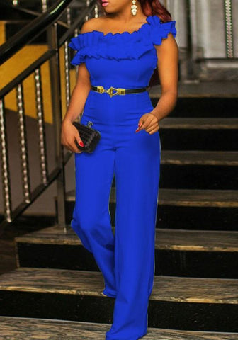 Blue Cascading Ruffle Multifunction Formal High Waisted Wide Leg Elegant Party Long Jumpsuit