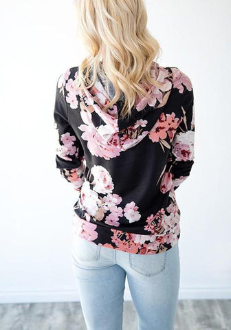 Black Floral Drawstring Pockets Hooded Casual Pullover Sweatshirt