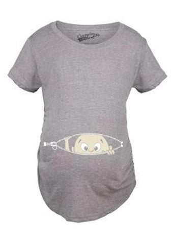 Grey Figure Pattern Round Neck Casual Cotton T-Shirt