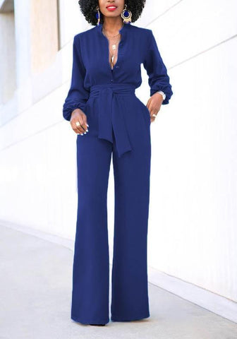 Blue Sashes Lace-up Deep V-neck Elegant Wide Leg Formal Long Jumpsuit