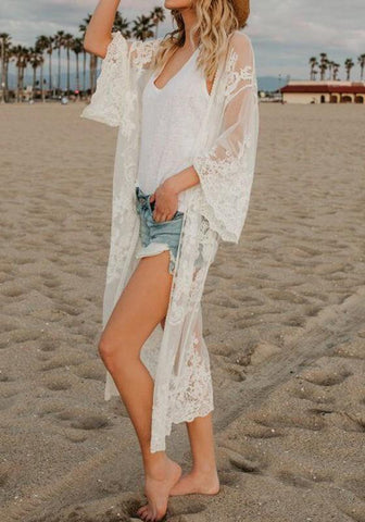 White Patchwork Lace Embroidery Sheer Beach Party Grenadine Kimono Cover Up
