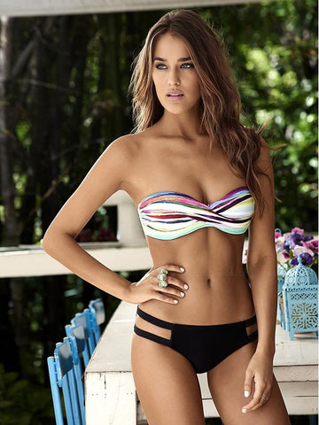 Sexy Color Strapless Two-Pieces Bikini Swimwear