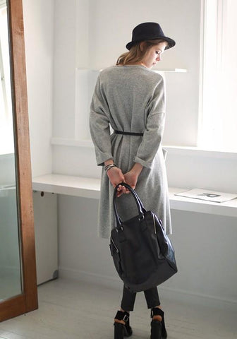 Light Grey Pockets Turndown Collar Fashion Cardigan Trench Coat