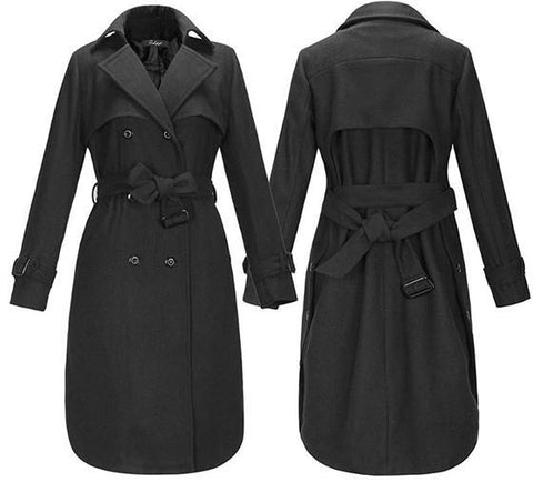 Black Plain Belt Buttons Pockets Turndown Collar Double Breasted Casual Coat