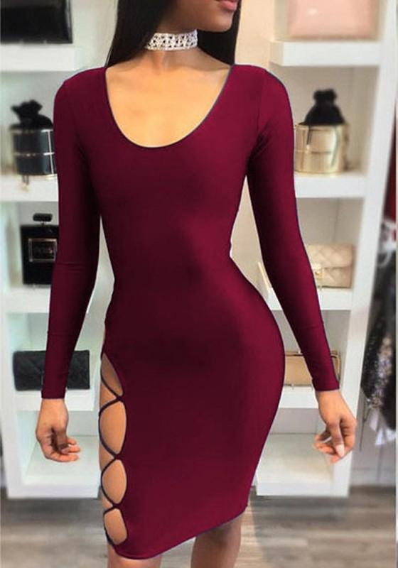 Red Backless Irregular Tie Back Long Sleeve Fashion Midi Dress