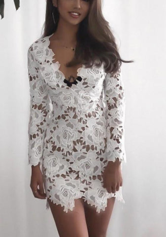 White Flowers Lace Cut Out Irregular Plunging Neckline Mini Dress