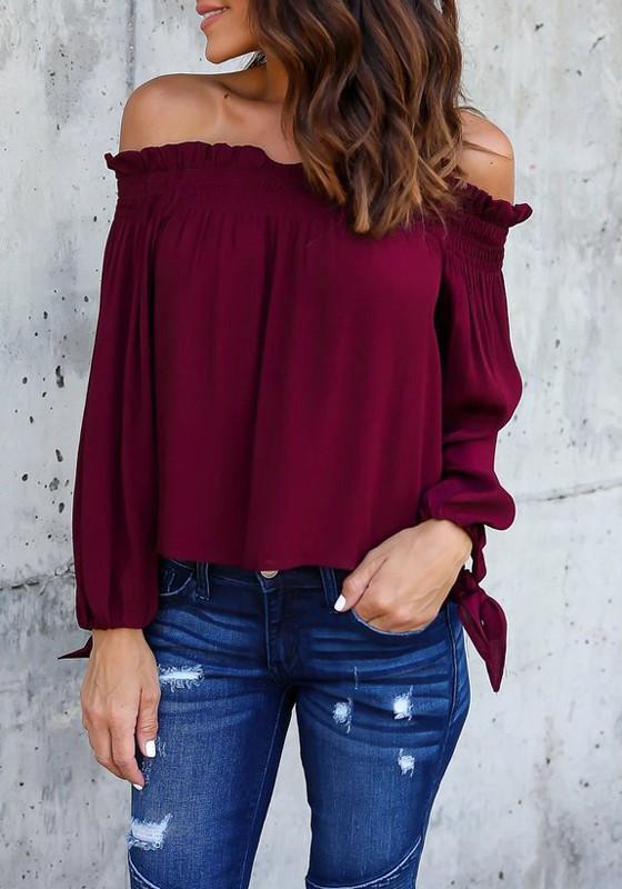Burgundy Pleated Lace-up Off Shoulder Boat Neck Long Sleeve Casual Blouse