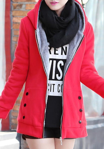 Red Pockets Zipper Hooded Plunging Neckline Long Sleeve Cardigan Coat