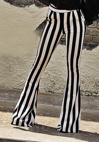 Black-White Striped Casual Mid-rise Long flare Pants