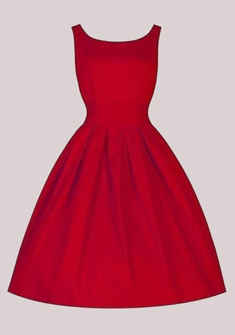 Red Pleated Round Neck Sleeveless Vintage Homecoming Midi Dress