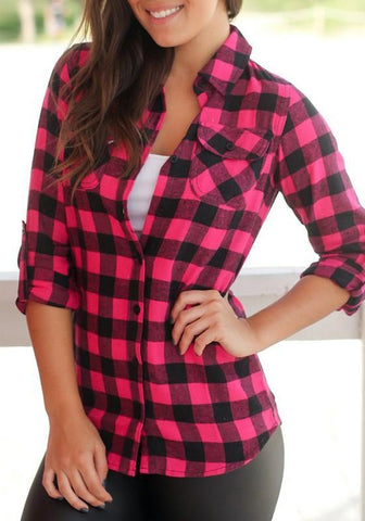 Red Plaid Turndown Collar Single Breasted Long Sleeve Pockets Casual Blouse