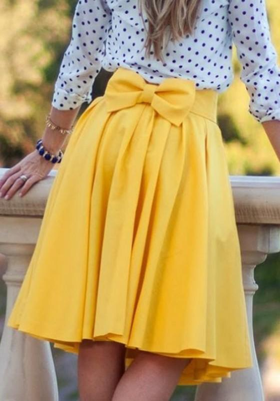 Yellow Plain Bowknot Pleated Below Knee Sweet Midi Skirt
