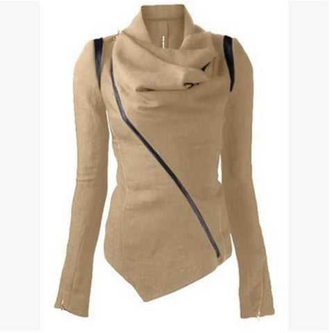 New Oblique Zipper Shawl Collar Solid Short Slim Coat