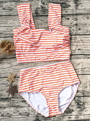 Cute Halter Pink Striped Tank Bikini Set