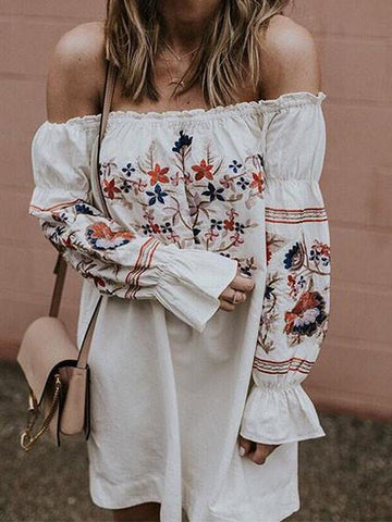 Cute Off Shoulder Floral Print Dress