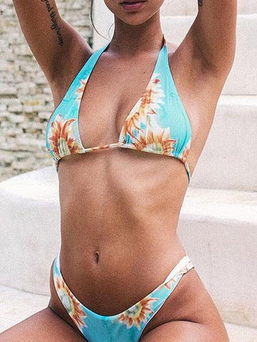 Cute Sunflower Print Halter Bikini Set