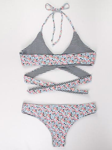 Lost In Flowers bandage Floral Print Bikini Set
