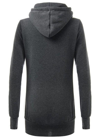Dark Grey Geometric Print Pockets Casual Hooded Cowl Neck Pullover Sweatshirt