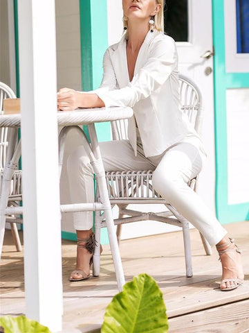 New White Two Piece Long Sleeve High Waisted Elegant Fashion Office Worker Long Blazer Jumpsuit Pants