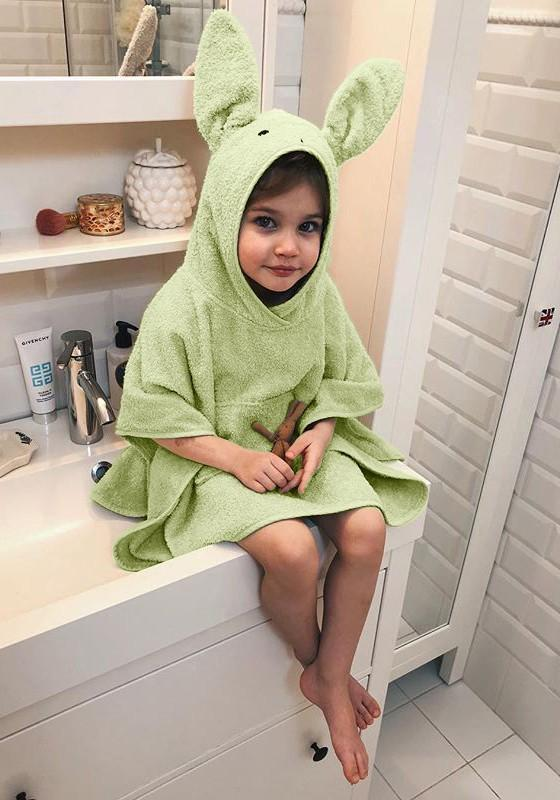 Green Cartoon Irregular Hooded Elbow Sleeve Cute Children's Pullover Sweatshirt