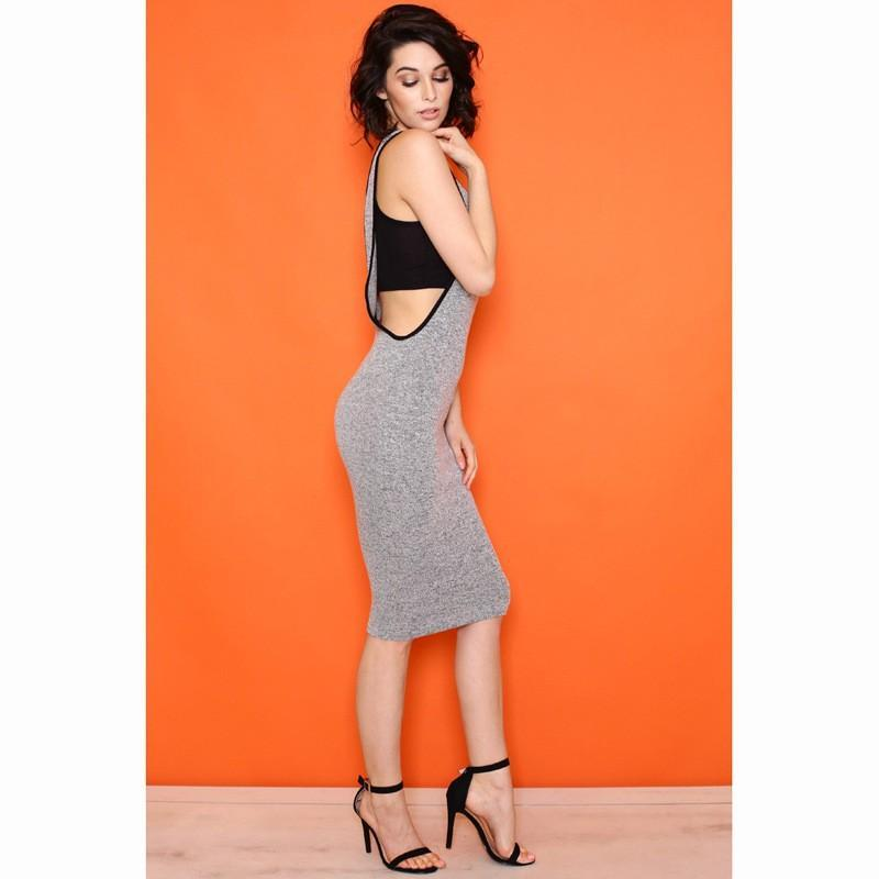 Grey Monogram Cut Out Backless U-neck Sleeveless Slim Midi Dress