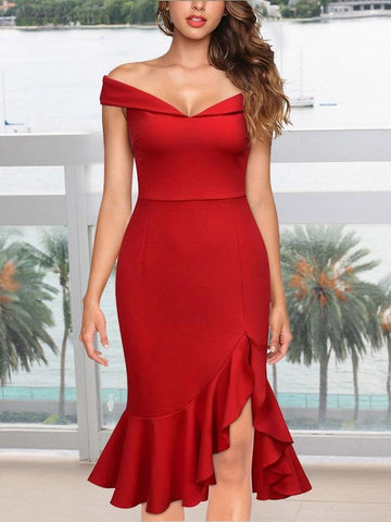 New Red Off Shoulder Ruffle Side Slits Backless Irregular Bodycon Mermaid Elegant Party Midi Dress